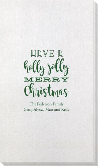 Holly Jolly Christmas Bamboo Luxe Guest Towels
