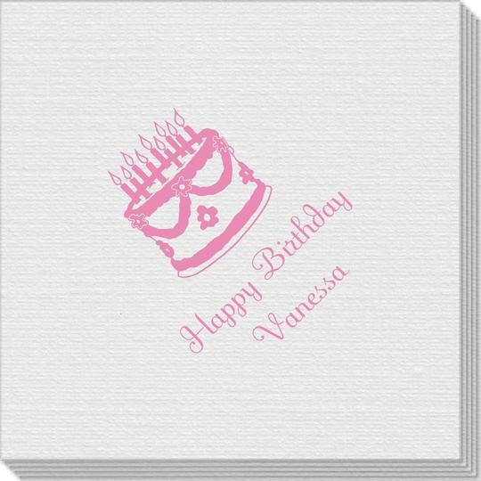 Sweet Floral Birthday Cake Linen Like Napkins