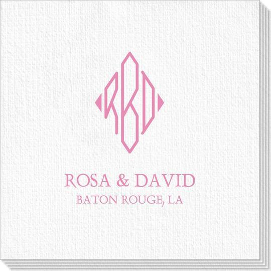 Shaped Diamond Monogram with Text Deville Napkins