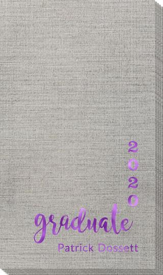 Graduate and Year Graduation Bamboo Luxe Guest Towels
