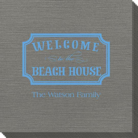Welcome to the Beach House Sign Bamboo Luxe Napkins