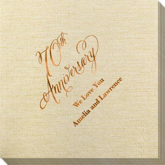 Elegant 70th Anniversary Bamboo Luxe Napkins