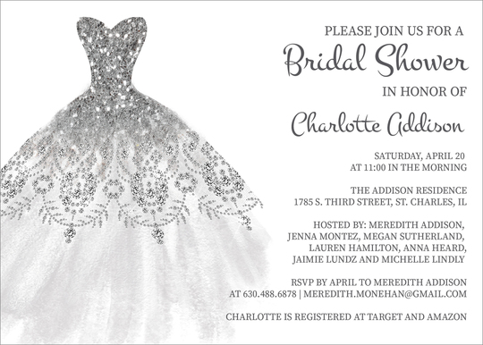 Silver Bridal Gown Invitations