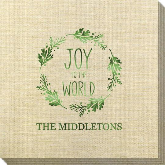 Joy to the World Wreath Bamboo Luxe Napkins