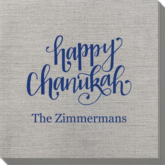 Hand Lettered Happy Chanukah Bamboo Luxe Napkins