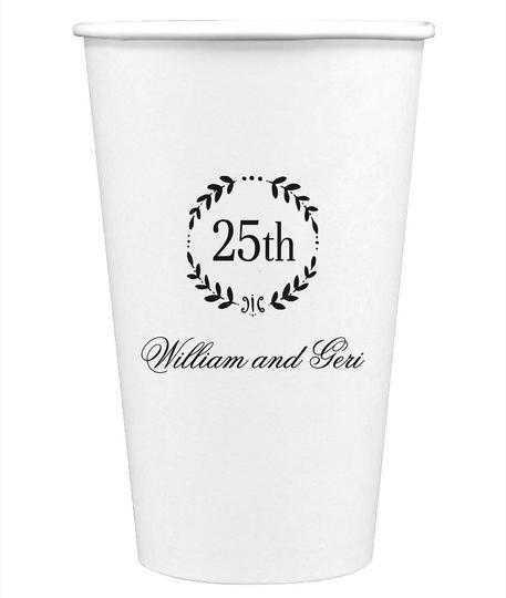25th Wreath Paper Coffee Cups