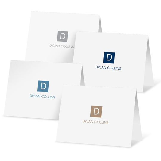 Square Initial Folded Note Card Collection