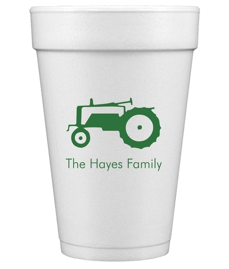 Tractor Styrofoam Cups