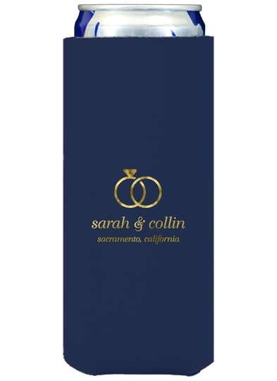 Modern Wedding Rings Collapsible Slim Koozies