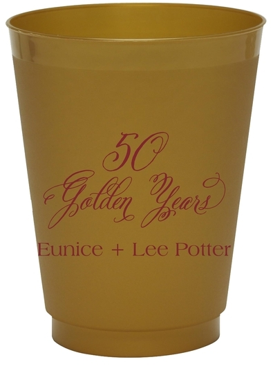 Elegant 50 Golden Years Colored Shatterproof Cups