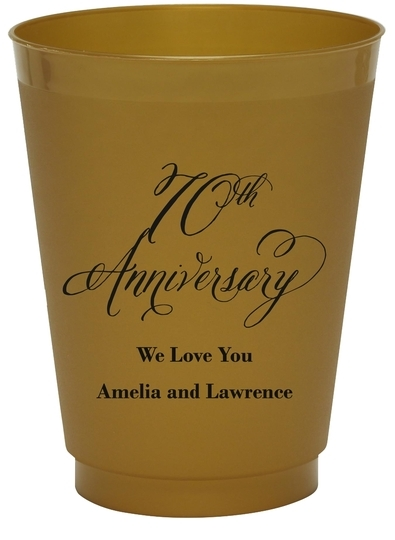 Elegant 70th Anniversary Colored Shatterproof Cups