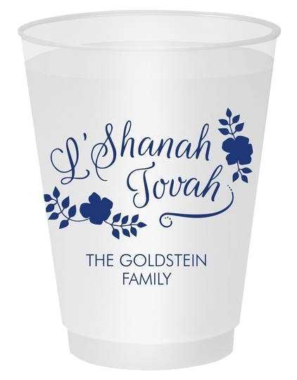 Floral L'Shanah Tovah Shatterproof Cups