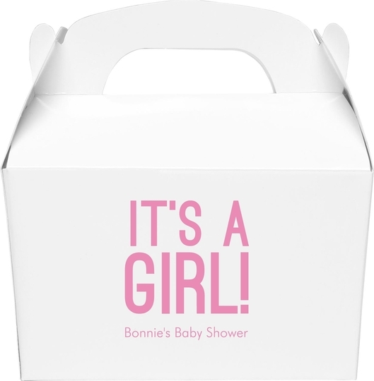 Bold It's A Girl Gable Favor Boxes