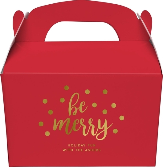 Confetti Dots Be Merry Gable Favor Boxes