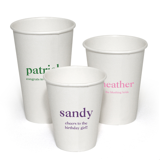 Design Your Own Big Name with Text Paper Coffee Cups