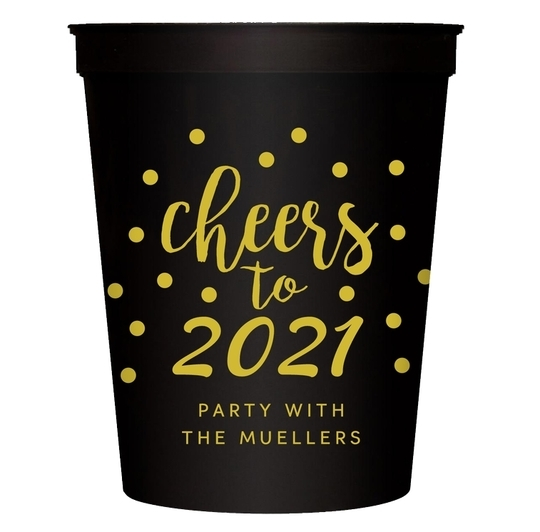 Confetti Dots Cheers to the New Year Stadium Cups