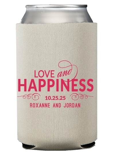 Love and Happiness Scroll Collapsible Koozies