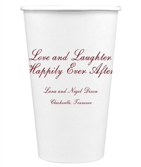 Love and Laughter Paper Coffee Cups