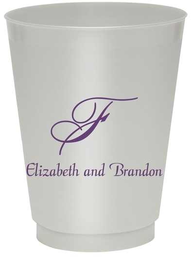 Pick Your Single Monogram with Text Colored Shatterproof Cups