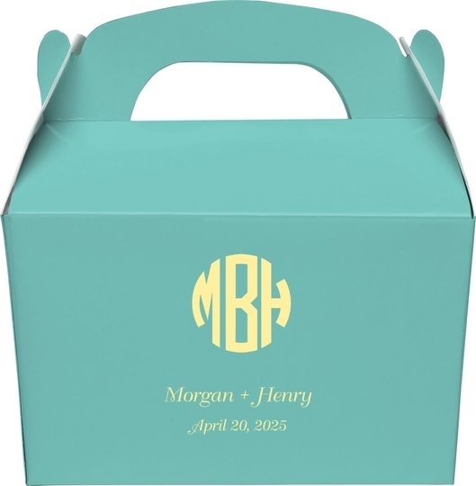 Rounded Monogram with Text Gable Favor Boxes