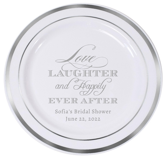 Love Laughter Ever After Premium Banded Plastic Plates