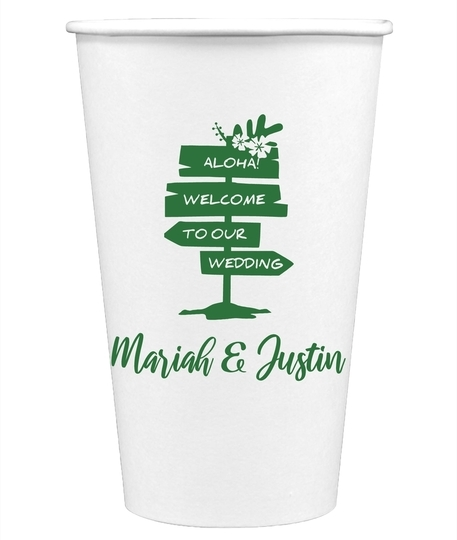 Aloha Welcome To Our Wedding Paper Coffee Cups