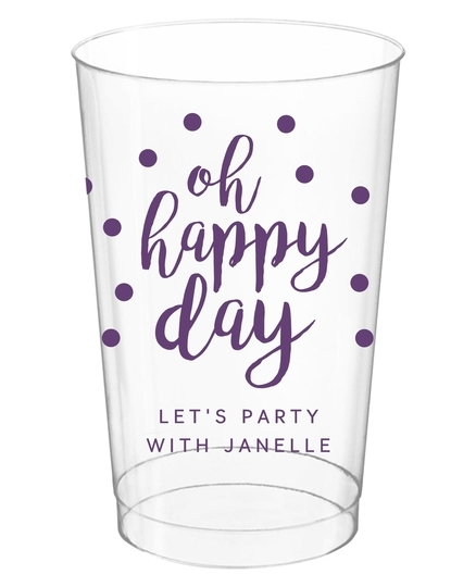 Confetti Dots Oh Happy Day Clear Plastic Cups