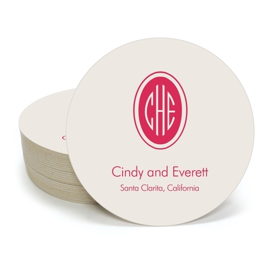 Outline Shaped Oval Monogram with Text Round Coasters